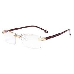 GAOYE Zero Power Reading Glasses Blue Light Blocking Computer Glasses for Women Men, Anti Headache Readers TR90 Light Weight LI801 (Tea Gold, *Zero Power)