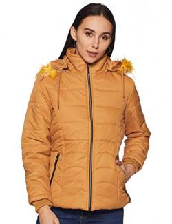 Cazibe Women's Regular Parka Coat Jacket (Mustard, L)