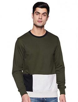 Amazon Brand - Inkast Denim Co. Men's Cotton Blend Regular Fit Round Neck Sweatshirt (AW19INK11 , Port Olive, Small)