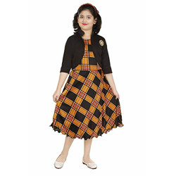 DIGIMART Girls' Knee Length Yellow Checks Frock,Black Jacket Dress