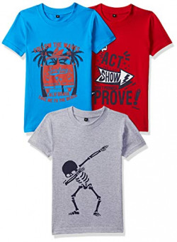 T2F Boy's T-Shirt (Pack of 3) (TSRT3P02_Multicolor 1_2-3 Years)