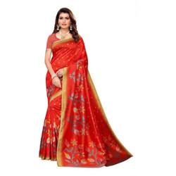 Fabwomen Floral Print Mysore Art Silk Saree(Red)