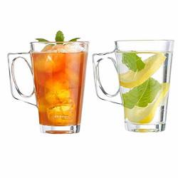 Exelcius® - Glass Coffee Mug - 2 Pieces, Clear, 130 ml