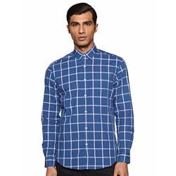 CottonWorld Men's Checkered Regular fit Casual Shirt (MENS-SHIRTS-13484-18830_Navy XXLarge)