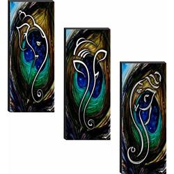 SAF Set of 3 Ganesha 6MM MDF UV Textured Painting 18 Inch X 15 Inch (J1005) SANFJ1005