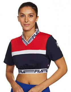 Fila Women's Plain Regular fit T-Shirt (12008729_Pea/c.rd/wht Large)