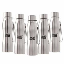 NIRLON stainless steel water Bottle, 1000 ml, Set of 5, Silver