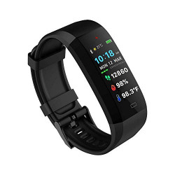 GOQii Vital 4.0 Oximeter built-in continuous SpO2, Heart rate Monitoring & body temperature monitoring with 3 months personal coaching(Bluetooth,Black)