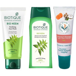 BIOTIQUE Youth Glow Face Skin Care Pack - Neem Face Wash, Neem Margosa Anti Dandruff Shampoo & Conditioner(3 Items in the set)