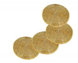 Prisha India Craft Set of 4 Handmade Gold Beaded Tea Coasters - 4 Inches Coaster for Tea Cups