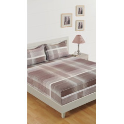 SWAYAM 160 TC Cotton Double Striped Bedsheet(Pack of 1, Brown)