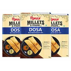 Manna Instant Multigrain Millet Dosa Ready Mix   Dosa Batter   540g (180g x 3 Packs) Serves 12   100% Natural Ingredients   Made with Foxtail Millet, Little Millet & Kodo Millet