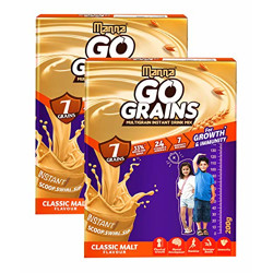 Manna Go Grains Malt   400g (200g x 2 Packs)   Health and Nutrition Multigrain Malted Drink for Growth & Immunity. High Protein   7 Immunity builders   24 Vitamins and Minerals for Growth