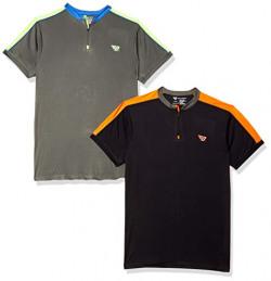 BHAJJI Combo of 2 T-Shirts Size 2XL(44) Zip Collar T Shirt B-048 Black with Zip Color B-048 Grey