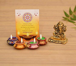 Collectible India Aluminium Ganpati Sitting Idol Gift Hampers Pack for Family and Friends Ganesh Idol Showpiece for Puja