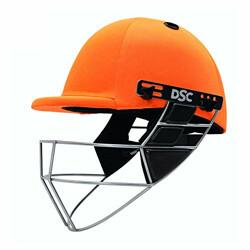 DSC Defender Cricket Helmet for Men & Boys (Adjustable Steel Grill   Back Support Strap   Light Weight  Size:Medium (Orange)