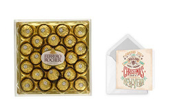 Vending India Personalised Christmas Gift - Ferrero Rocher 24 Pcs (300g) with a Personalised Greeting Card of Choice (Vintage Fonts)