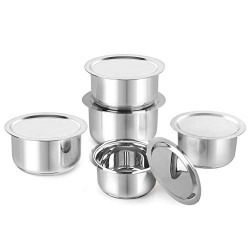 Cello Stainless Steel Tope with Lid, Induction Bottom, Set of 5 (Capacity - 1.1L, 1.4L, 1.9L, 2.5L, 3.1L), Silver, Medium (SS_TOPE_SS_LID_IB_SET5)