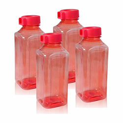 Wonder Atlanta 400 Fridge Bottle Set, Red Color, Set of 4 Bottles, Made in India