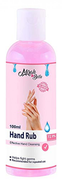 Mirah Belle - Hand Rub Sanitizer (100 ML) - BUY 6 GET 5 MASKS FREE - FDA Approved (72.9% Iso Propyl Alcohol) - Vegan, Cruelty Free - Best for Men, Women and Children - Sulfate and Paraben Free Hand Cleanser (Pack of 1)