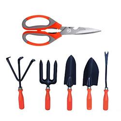 Kraft Seeds Gate Garden! Best Five Gardening Hand Tools Set with Free Multipurpose Kitchen Household Garden Scissor (Color May Vary), Orange Handle and Black Metal (Gate-002)