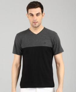 KILLER Color Block Men V Neck Grey T-Shirt