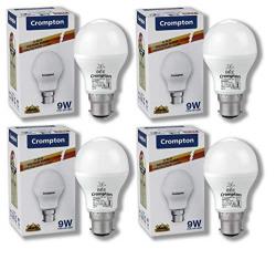 Crompton Base B22 9-Watt LED Bulb (Pack of 4, Cool Day Light)