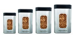 Signoraware Modular Steel Container (Window Square) Matte,Set of 4, 950ml+1400ml+1800ml+2300ml, Silver