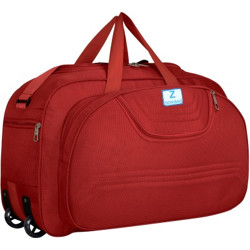 Zion Bag (Expandable) polyester Waterproof Lightweight 60 L Luggage Travel Duffel Bag with Two Wheels (Red) Duffel Without Wheels(Red)