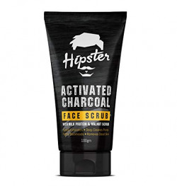 Hipster Activated Charcoal Face Scrub 100gm | For Oily Skin & Normal Skin | Walnut Scrub Grits, Milk Protein & Aloevera | Exfoliating, Fights Blackhead, Pore Deep Cleanser | Face, Body & Neck Scrub | Made In India