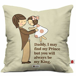 Indigifts Multicolor Micro Satin And Fibre Father You Are My King Quote Printed Cushion Cover With Filler - Cushion 12x12 with Filler