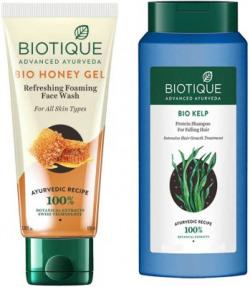 BIOTIQUE EverGreen Skin Care Pack - Bio Honey Gel Face Wash100ml, Bio Shampoo Kelp Falling Hair Shampoo 180ML(1 Items in the set)