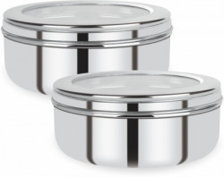 Renberg Stainless Steel Puri Canister Set of 2, 750ml, Sliver (RBIN-6093)  - 750 ml Steel Utility Container(Pack of 2, Silver)