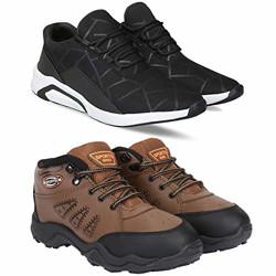 Bersache Men's Multicolor Running Shoes - 10 UK (44.5 EU) (Combo-1242-397-10)