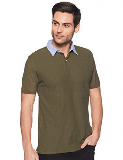 CottonWorld Men's Solid Regular fit Polo (MENS-TSHIRT-16038-18740_Olive Small)