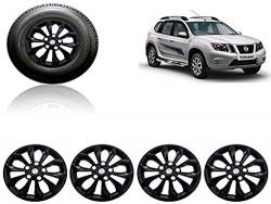 Auto Pearl Car Full Black Wheel Cover Caps 15 Inches Press Type Fitting for - Terrano