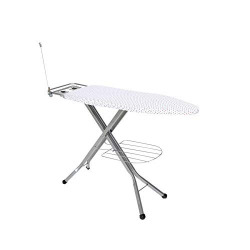 Happer Ace Plus Large Foldable Metal Ironing Board with Wire Manager and Multi-Function Tray (Silver)