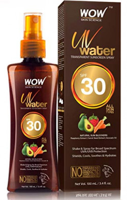 WOW Skin Science UV Water Transparent Sunscreen Spray SPF 30 - Quick Absorbing - Oil Free - with Raspberry Extract, Carrot Seed Extract, Avocado Oil - No Parabens, Silicones, Mineral Oil, Oxide, Color & Benzophenone - 100mL