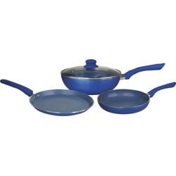 WONDERCHEF Royal Velvet Plus Induction Base Cookware Set, 4-Pieces, Blue Induction Bottom Cookware Set(Aluminium, 4 - Piece)