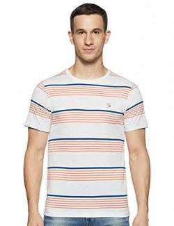 Cazibe Men's Striped Regular fit T-Shirt (CZ11107_Ecru L)