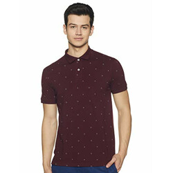 Get In Men's Printed Regular fit Polo (GI-AOP-04B_Maroon M)