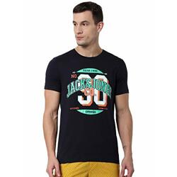 Jack & Jones Men's Printed Regular fit T-Shirt (2114544003_Navy Blazer L)