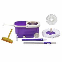 Fretol Steel Mop with Wheel+2 Refill+Rod+ Wiper - Purple