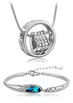 Valentine Gift by Shining Diva Platinum Plated Pendant Necklace Jewellery Set with Bracelet for Girls and Women(Blue)(vgcmb192)