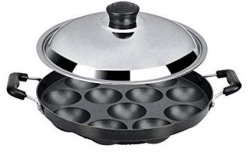 BMS Lifestyle Non-Stick 12 Cavity Appam Patra Side Handle (Color - May Vary) (Side Handle With Steel Lid)