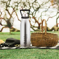 DUBBLIN Kango Premium Stainless Steel Double Wall Vacuum Insulated BPA Free Water Bottle, Sports Thermos Flask Keeps Hot 12 Hours, Cold 24 Hours (Silver,1500 ML)