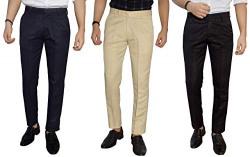 KUNDAN Slim Fit Men Poly-Viscose Blend Trousers (Pack of 3 Trousers; Multicolor)