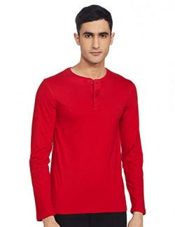 Fort Collins Men's Solid Regular fit T-Shirt (OL11183_Red M)