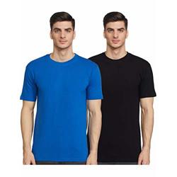 Joshua Tree Men's Plain Regular fit T-Shirt (Pack of 2) (BRB-05_Black and Royal Blue XL)
