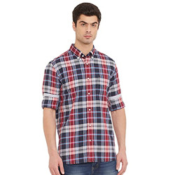 Tommy Hilfiger Men's Checkered Regular fit Casual Shirt (P0AMW381S_Navy Blazer/Primary Red/Multi S)